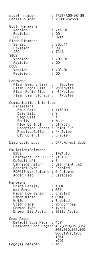 Printer status report RS-232
